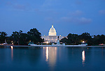 Washington DC; USA: The Capitol Building, legislative branch of the US government, as seen at night from the National Mall.Photo copyright Lee Foster Photo # 3-washdc83106