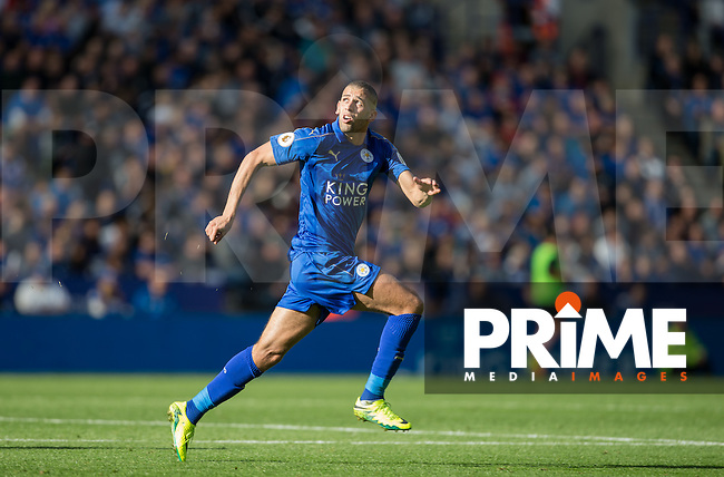 Islam Slimani of Leicester City during the Premier League match between Leicester City and Southampton at the King Power Stadium, Leicester, England on 2 October 2016. Photo by Andy Rowland.
