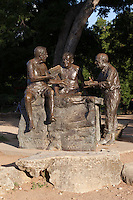 "The Philosophers' Rock Statue at Barton Springs Pool, CAST's first project, installed in 1994, is a larger-than-lifesize bronze sculpture of three renowned Austin writers that sits under a pecan grove at the entrance to Barton Springs Pool. J. Frank Dobie, Roy Bedichek, and Walter Prescott Webb used to meet at Barton Springs every afternoon and hold forth in what has been characterized as ""Austin's first literary salon."" The men met on a rock at the edge of the pool that Bedichek dubbed ""Philosophers' Rock."" The statue, by renowned sculptor Glenna Goodacre (who created the Women in Vietnam memorial in Washington D.C. and the image of Sacajawea on the new dollar coin) is an unforgettable depiction of three good friends engaged in an informal but intense discussion. A monument to friendship, ideas, the glory of nature and the joy of conversation, Philosophers' Rock quickly became a beloved Austin landmark. The Austin Chronicle, in naming Philosophers' Rock the ""Best Public Art"" in Austin, wrote: ""It does what great statues do: recognize achievement, convey a sense of the community from which it sprang, and inspire us."" The Austin American Statesman declared it ""an irresistable connection to Texas' literary past."""