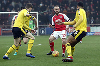 Fleetwood Town's Paddy Madden under pressure from Oxford United's Rob Dickie (left) and Rob Dickie<br /> <br /> Photographer Rich Linley/CameraSport<br /> <br /> The EFL Sky Bet League One - Fleetwood Town v Oxford United - Saturday 12th January 2019 - Highbury Stadium - Fleetwood<br /> <br /> World Copyright &copy; 2019 CameraSport. All rights reserved. 43 Linden Ave. Countesthorpe. Leicester. England. LE8 5PG - Tel: +44 (0) 116 277 4147 - admin@camerasport.com - www.camerasport.com