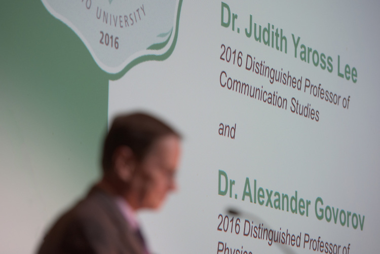 Ohio University's Interim President, David Descutner, addresses attendees of the Distinguished Professor Award Ceremony at Ohio University's Baker Center Ballroom on Monday, February 20, 2017.