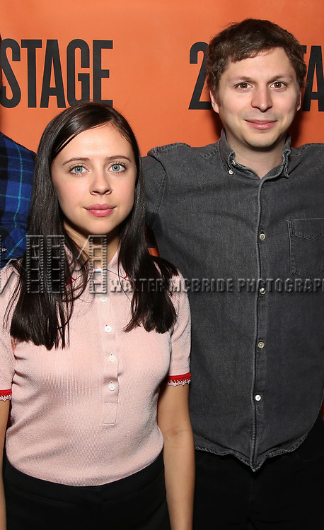 Bel Powley and Michael Cera backstage at  the Second Stage Theater Broadway lights up the Hayes Theatre at the Hayes Theartre on February 5, 2018 in New York City.