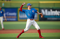 Clearwater Threshers third baseman Luke Williams (9) throws to first base during a game against the Fort Myers Miracle on May 31, 2018 at Spectrum Field in Clearwater, Florida.  Clearwater defeated Fort Myers 5-1.  (Mike Janes/Four Seam Images)