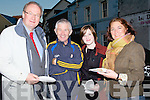 FOOD TRAIL: Jim Finucane, Muiris and Muireann O'Sullivan and Grace O'Donnell who enjoyed the food on the Tralee Culture Traill outside the Abbeygate Hotel, on Friday evening.