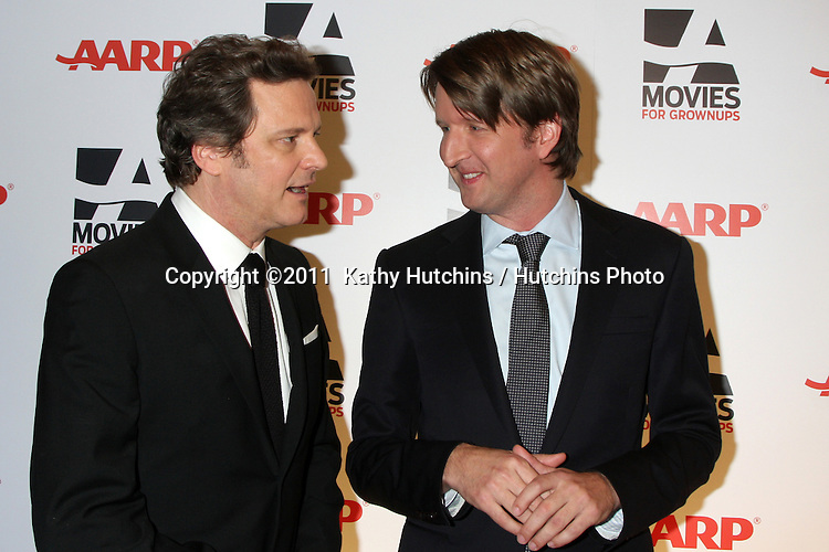 "LOS ANGELES - FEB 7:  Colin Firth, Tom Hooper arrives at the 2011 AARP ""Movies for Grownups"" Gala  at Regent Beverly Wilshire Hotel on February 7, 2011 in Beverly Hills, CA"