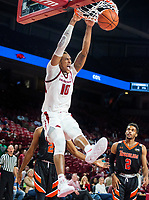 NWA Democrat-Gazette/BEN GOFF @NWABENGOFF <br /> Daniel Gafford of Arkansas dunks in the second half vs Tusculum Friday, Oct. 26, 2018, during an exhibition game in Bud Walton Arena in Fayetteville.