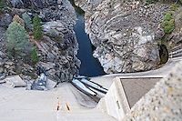 Looking straight down the sheer wall of the O'Shaughnessy Dam in the Hetch Hetchy area