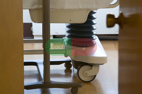 Detail of Wheels and Undercarriage of Hospital Bed