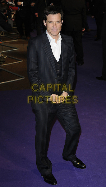 "JASON BATEMAN.The ""Paul"" UK Film Premiere, Empire Cinema, Leicester Square, London, England, UK,.7th February 2011.full length suit black white shirt pinstripe waistcoat .CAP/CAN.©Can Nguyen/Capital Pictures."