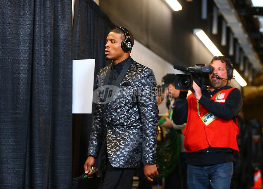 Feb 7, 2016; Santa Clara, CA, USA; Carolina Panthers quarterback Cam Newton (1) arrives for Super Bowl 50 against the Denver Broncos at Levi's Stadium. Mandatory Credit: Mark J. Rebilas-USA TODAY Sports