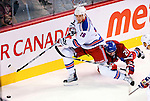 23 January 2010: New York Rangers' defenseman Marc Staal heads to the corner during a game against the Montreal Canadiens at the Bell Centre in Montreal, Quebec, Canada. The Canadiens shut out the Rangers 6-0. Mandatory Credit: Ed Wolfstein Photo