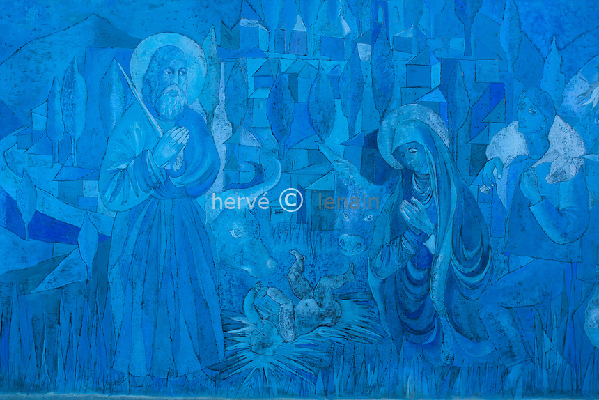 France, Alpes-Maritimes (06), Coaraze, la chapelle Bleue ou Chapelle Notre-Dame-des-Sept-Douleurs, fresques contemporaines //  France, Alpes Maritimes, Coaraze, the Blue chapel or Chapel Notre Dame des Sept Douleurs, the contemporary frescoes