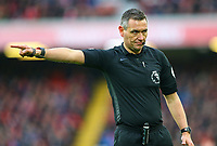 Referee Andre Marriner<br /> <br /> Photographer Alex Dodd/CameraSport<br /> <br /> The Premier League - Liverpool v Burnley - Sunday 10th March 2019 - Anfield - Liverpool<br /> <br /> World Copyright © 2019 CameraSport. All rights reserved. 43 Linden Ave. Countesthorpe. Leicester. England. LE8 5PG - Tel: +44 (0) 116 277 4147 - admin@camerasport.com - www.camerasport.com