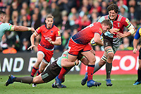 Jack Singleton of Worcester Warriors takes on the Harlequins defence. Aviva Premiership match, between Harlequins and Worcester Warriors on October 28, 2017 at the Twickenham Stoop in London, England. Photo by: Patrick Khachfe / JMP