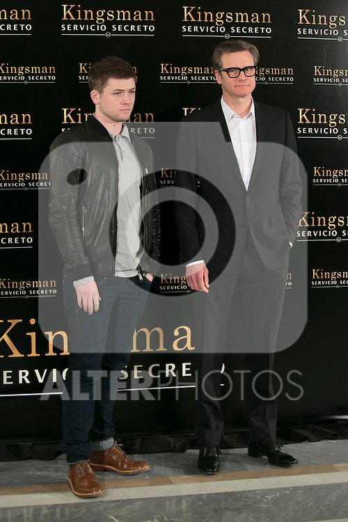 "Colin Firth and Taron Egerton attend the ""Kingsman"" Movie Presentation at Villa Magna Hotel, Madrid,  Spain. February 06, 2015.(ALTERPHOTOS/)Carlos Dafonte)"