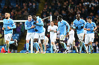 Yaya Toure celebrates his goal with Kevin de Bruyne during the Barclays Premier League Match between Manchester City and Swansea City played at the Etihad Stadium, Manchester on 12th December 2015