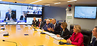 United States President Barack Obama makes a statement after receiving a briefing on Hurricane Matthew at the Federal Emergency Management Agency(FEMA) in Washington DC, October 5, 2016. <br /> Credit: Chris Kleponis / Pool via CNP /MediaPunch