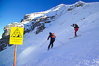 Fulpmes, Stubaital, Tirol, Austria, January 2006. Off piste skiers, ignoring the signs,  can trigger avalanches. The Bergrettung Tyrol mountain rescue teams have to respond to avalanches within 30 minutes if the victims are to have any chance of surviving. photo by Frits Meyst/Adventure4ever.com