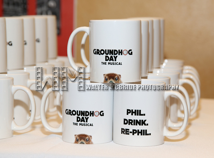 "Coffee Mugs on the ""Groundhog Day'' opening day box office at The August Wilson Theatre on February 2, 2017 in New York City."