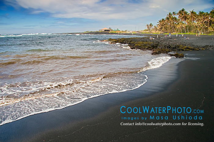 Punalu`u Black Sand Beach, Big Island, Hawaii, Pacific Ocean
