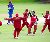 ICC World T20 Qualifier - GROUP B MATCH - Afghanistan v Oman at Heriots CC, Edinburgh - Oman celebrate — credit @ICC/Donald MacLeod - 15.07.15 - 07702 319 738 -clanmacleod@btinternet.com - www.donald-macleod.com