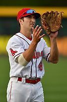 Second baseman Jagger Rusconi (48) of Greenville Drive warms up before a game against the Asheville Tourists on Wednesday, May 3, 2017, at Fluor Field at the West End in Greenville, South Carolina. Greenville won, 8-0. (Tom Priddy/Four Seam Images)