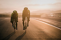 Caleb Ewan (AUS/Michelton-Scott) &amp; Roger Kluge (DEU/Michelton-Scott) during TTT training at dawn at the Circuito de Almeria Fans<br /> <br /> Michelton-Scott training camp in Almeria, Spain<br /> february 2018