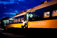 The Chihuahua Pacific Railway Train prepares to depart from Los Mochis, the Southern most stop almost touching the Pacific Ocean, towards Chihuahua City on a trip through Barranca del Cobre (Copper Canyon) using the last passenger train in Mexico, Thursday, June 19, 2008. The first departing train leaves Los Mochis at 6AM and will make eight stops along the route which passes over 408 miles of railroad tracks, through 86 tunnels and over 37 bridges on its voyage...PHOTO/ MATT NAGER