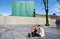 "Lena Margrethe Hoen Berge and Karsten Lunde hold a sit down protest. Y-block, the former government building contains work of Picasso and Nesjar and the planned demolition is very unpopular.<br /> <br /> In the late 1950s and the early 1970s the Spanish artist Pablo Picasso designed five murals (The Beach, The Seagull, Satyr and Faun and two versions of The Fisherman) for the Regjeringskvartalet ('Government quarter') buildings in central Oslo, Norway.<br /> <br /> The designs by Picasso were executed in concrete by Norwegian artist Carl Nesjar, and were Picasso's first attempt at monumental concrete murals<br /> <br /> The modernist building, the Y-block, which formed part of the Norwegian government quarter for over fifty years. <br /> <br /> The building was drawn by architect Erling Viksjø and was finished 1969. Following the 2011 terror attack the building was left empty while the government have been mulling its' options. <br /> <br /> A decision on the fate of the murals was expected in early 2014. The murals were subsequently listed as one of Europe's most endangered heritage sites in 2015 by the heritage organisation Europa Nostra following the Norwegian cabinet's vote to demolish the Y-block building.<br /> <br /> In the beginning of 2020 the Norwegian government decided to tear down the building and redevelop the goverment quarter. <br /> <br /> The Architect's Newspaper writes: <br /> ""Demolition-ready government officials have vowed to save and relocate the murals, which were executed by Picasso's frequent collaborator, the Norwegian artist Carl Nesjar. Preservationists near and far, however, are crying foul. They believe that the building itself should also be spared from the wrecking ball.""<br /> <br /> <br /> ©Fredrik Naumann/Felix Features"