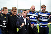 Bath Rugby Head Coach Mike Ford speaks to his team after the match. Aviva Premiership match, between Bath Rugby and Exeter Chiefs on October 17, 2015 at the Recreation Ground in Bath, England. Photo by: Patrick Khachfe / Onside Images