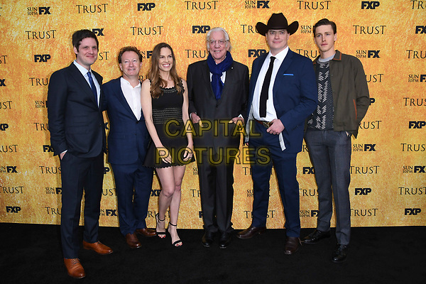 11 May 2018 -North Hollywood, California - Michael Esoer, Simon Beaufoy, Hilary Swank, Donald Sutherland, Brendan Fraser, Harris Dickinson . FYC Event for FX's &quot;Trust&quot; held at Saban Media Center at the Television Academy Wolf Theater. <br /> CAP/ADM/BT<br /> &copy;BT/ADM/Capital Pictures