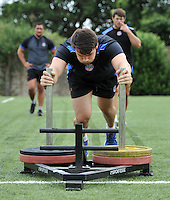 David Sisi in action. Bath Rugby pre-season training on July 8, 2014 at Farleigh House in Bath, England. Photo by: Patrick Khachfe/Onside Images