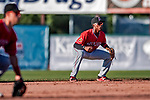 29 July 2018: Batavia Muckdogs infielder Demetrius Sims in action against the Vermont Lake Monsters at Centennial Field in Burlington, Vermont. The Lake Monsters defeated the Muckdogs 4-1 in NY Penn League action. Mandatory Credit: Ed Wolfstein Photo *** RAW (NEF) Image File Available ***