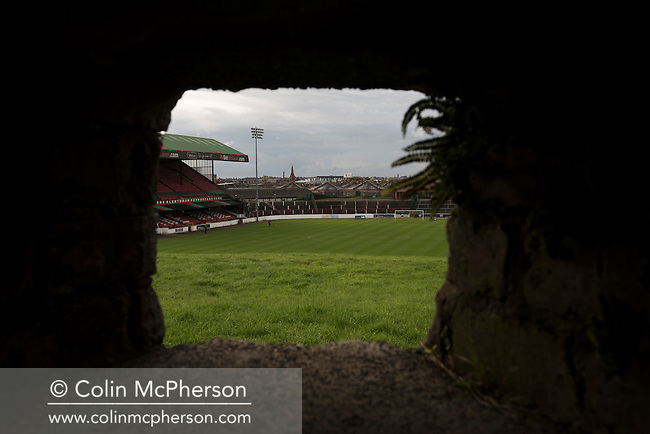 The view out from the World War II bunker situated on the hill at the home end at The Oval, Belfast, pictured before Glentoran hosted city-rivals Cliftonville in an NIFL Premiership match. Glentoran, formed in 1892, have been based at The Oval since their formation and are historically one of Northern Ireland's 'big two' football clubs. They had an unprecendentally bad start to the 2016-17 league campaign, but came from behind to win this fixture 2-1, watched by a crowd of 1872.