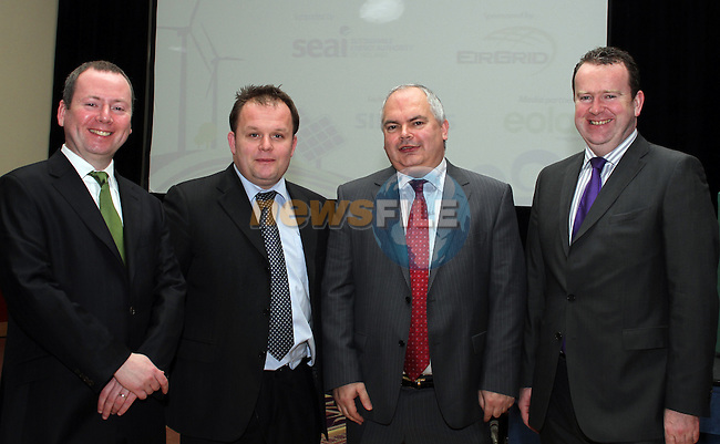 Brian Motherway, Chief Operations Officer at the Sustainable Energy Authority of Ireland, Jon O'Sullivan, Eirgrid PLC, Martin Finucane, Head of Sustainable and Renewable Energy Division at the Department of Communications, Energy and Natural Resources and Paul Lynam at the Irish Renewable Energy Summit 2011 in the Fairways Hotel in Dundalk...(Photo credit should read Jenny Matthews/www.newsfile.ie)....This Picture has been sent you under the conditions enclosed by:.Newsfile Ltd..The Studio,.Millmount Abbey,.Drogheda,.Co Meath..Ireland..Tel: +353(0)41-9871240.Fax: +353(0)41-9871260.GSM: +353(0)86-2500958.email: pictures@newsfile.ie.www.newsfile.ie.