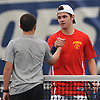 Robert Sangirardi of Chaminade, right, shakes hands with Emilio Niland of St. Anthony's after their second singles match in the NSCHSAA varsity boys tennis team championship at Hofstra University on Tuesday, May 10, 2016. Sangirardi won the match to help Chaminade to the league title.