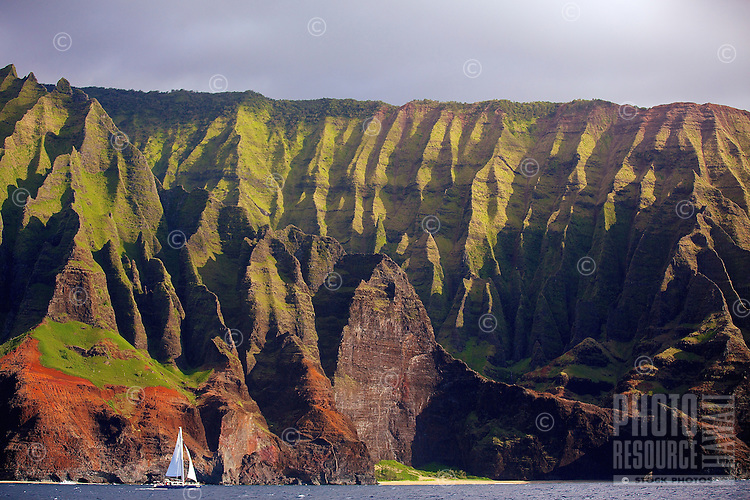Magnificent Honopu Valley and Na Pali Coast, as seen from a catamaran cruise off of North Kaua'i.