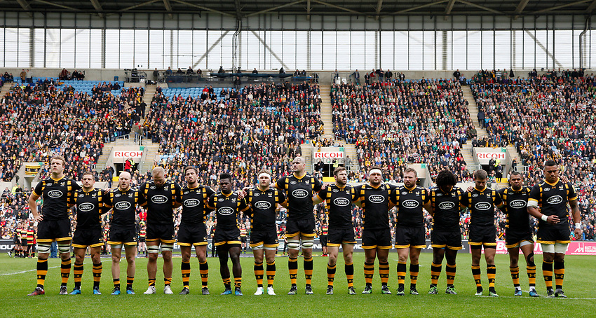 Photo: Richard Lane/Richard Lane Photography. Wasps v Leicester Tigers. Aviva Premiership. Semi Final. 20/05/2017. Wasps minutes silence to remember Ivor Montlake.