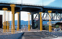 "Vancouver: ""Neo-Classical Columns"", False Creek, 1986, at Sutcliffe Park by Ron Rule. 18 ft. high. Called ""hideous"" by some residents. Photo '86."