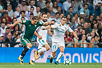 Lucas Vazquez (r) of Real Madrid is tackled by Joaquin Sanchez Rodriguez of Real Betis during the La Liga 2017-18 match between Real Madrid and Real Betis at Estadio Santiago Bernabeu on 20 September 2017 in Madrid, Spain. Photo by Diego Gonzalez / Power Sport Images