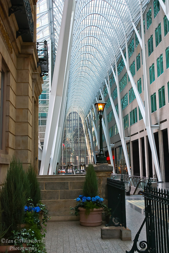 Looking inside the beautiful atrium at Toronto's BCE Place