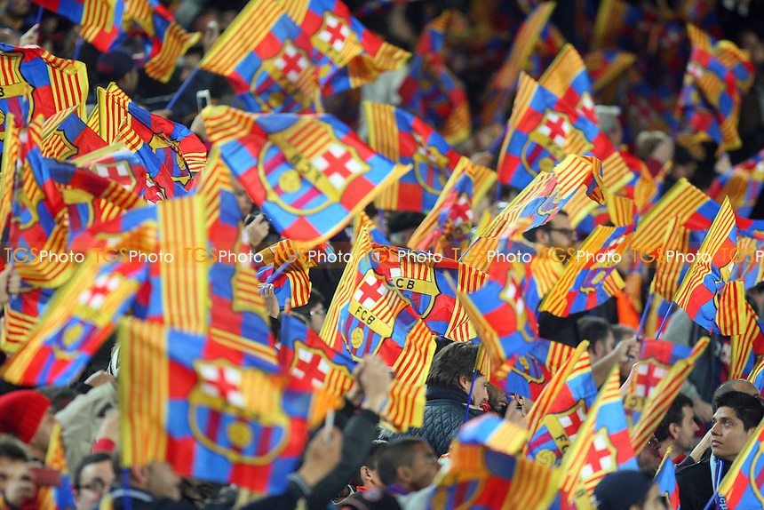 Barcelona fans wave their flags ahead of kick off - FC Barcelona vs Manchester City - European Champions League Round of Sixteen Football at the Camp Nou Stadium on  18/03/15 - MANDATORY CREDIT: Dave Simpson/TGSPHOTO - Self billing applies where appropriate - 0845 094 6026 - contact@tgsphoto.co.uk - NO UNPAID USE