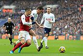 10th February 2018, Wembley Stadium, London England; EPL Premier League football, Tottenham Hotspur versus Arsenal; Granit Xhaka of Arsenal battles with Jan Vertonghen of Tottenham Hotspur