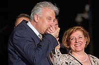 A Fidesz eredm&eacute;nyv&aacute;r&oacute;ja a v&aacute;laszt&aacute;sok &eacute;jszak&aacute;j&aacute;n.A k&eacute;pen Semj&eacute;n Zsolt &eacute;s feles&eacute;ge.<br /> 2018.04.08.<br /> Fot&oacute;:V&ouml;r&ouml;s Szil&aacute;rd