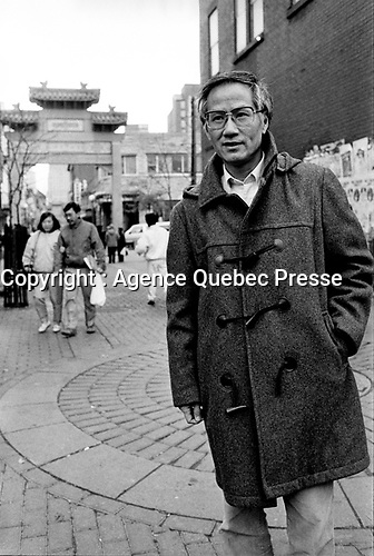 October 25 1987 File Photo - Montreal (Qc) Canada - EXCLUSIVE PHOTO  Kenneth Cheung in Montreal's Chinatown.<br /> <br /> Cheung was  one of the city's first high-profile Asians to become involved in community affairs, and fought to keep  Chinatown a viable neighbourhood. He ran for city council as an independent in 1982, the first Canadian of Chinese origin to do so, and in 1986 he ran for mayor, not because he expected he'd win, but to draw attention to the lack of visible minorities in public office.<br /> <br /> He served as an executive member of the Montreal Chinese Business and Professional People's Association and the Quebec representative on the Chinese Canadian National Council.<br /> <br /> He died in the Royal Victoria Hospital on Sept. 1 following a stroke. He was 71.