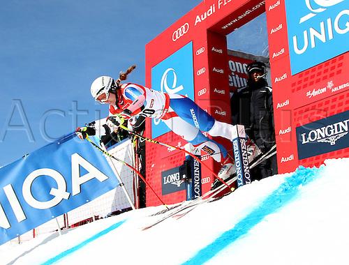 13.01.2013. St Anton, Austria.  Ski Alpine FIS World Cup Super G for women Picture shows Fabienne Sutter SUI at the Start building