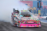 Feb 20, 2015; Chandler, AZ, USA; NHRA funny car driver Courtney Force during qualifying for the Carquest Nationals at Wild Horse Pass Motorsports Park. Mandatory Credit: Mark J. Rebilas-