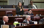 Nevada Assemblywoman Victoria Seaman, R-Las Vegas, speaks on the Assembly floor at the Legislative Building in Carson City, Nev., on Tuesday, April 21, 2015. <br /> Photo by Cathleen Allison