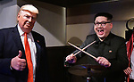 Howard X, impersonator of North Korean leader Kim Jong Un and Dennis Alan, impersonator of U.S. President Donald Trump pose for camera at Jazz Bar COMODO in Osaka, Japan on June 27, 2019. (Photo by AFLO)