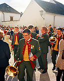 AUSTRIA, Rust, a band prepares to play music following a wedding ceremony in Rust, Burgenland